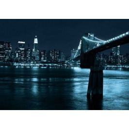 Nowy Jork. Manhattan and Brooklyn Bridge at night - fototapeta